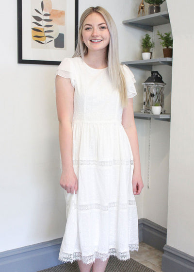 Georgia Eyelet Dress in Ivory