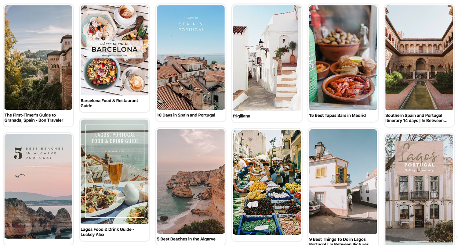 Pinterest travel planning
