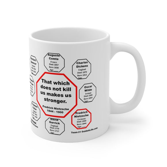 That which does not kill us makes us stronger.   -  Fredrich Nietzsche  1844 - 1900 - Drink Wisely in MugWisdom - Ceramic  11oz cup