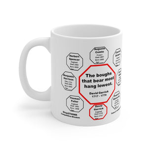 The boughs that bear most hang lowest.  -  David Garrick  1717 - 1779 - Drink Wisely in MugWisdom - Ceramic  11oz cup