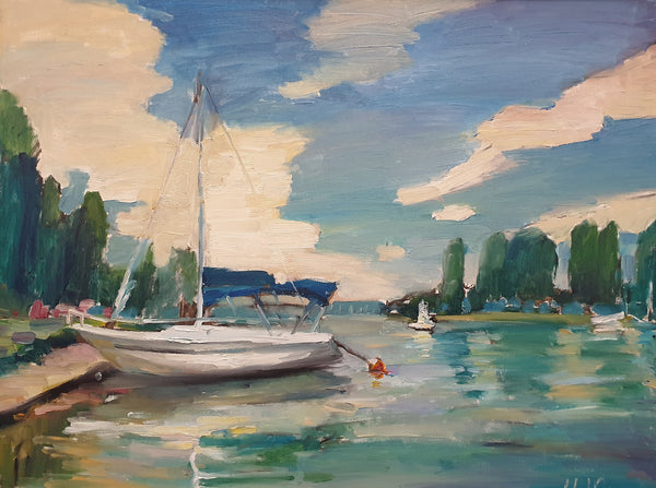 Anchored on Balaton (80x60cm)