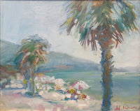Umbrellas and palm trees (41x33cm)