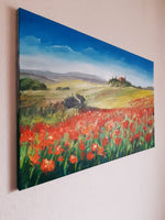 Poppies in a row (80x50cm)
