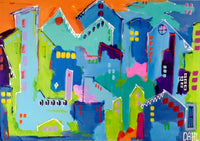 Happy Blue House ( 100x70 cm )