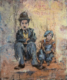 A tramp and a kid ( 50x60 cm )