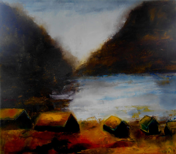 Settlement, light and the ocean ( 150x150 cm )