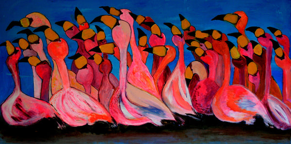 Flamingoparty ( 120x60 cm )