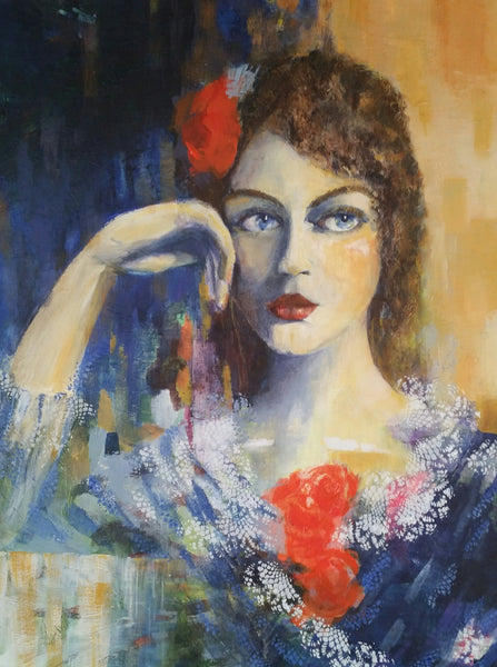 The girl with red flowers (60x80cm)
