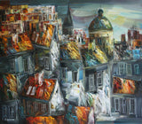 Evening in town ( 80x70 cm )