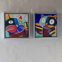 New cat and owl ( 40x20 cm )