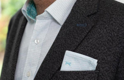 Stylish Binary pocket square and shirt