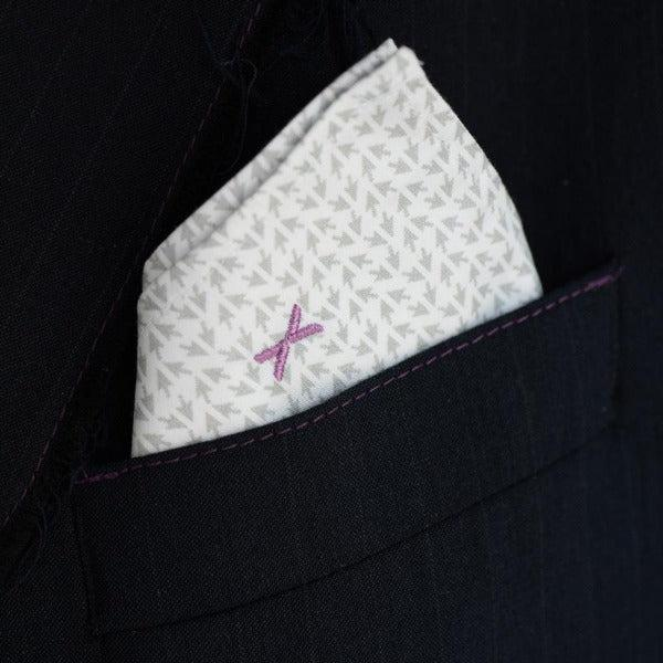 Embroidery detail of DressCode Cursor pocket square