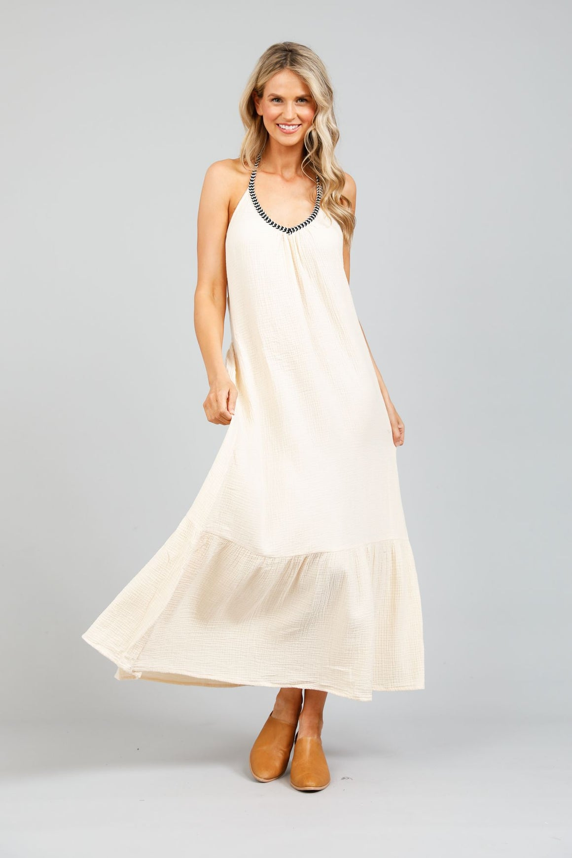 Athena Halterneck Maxi Dress - Cream
