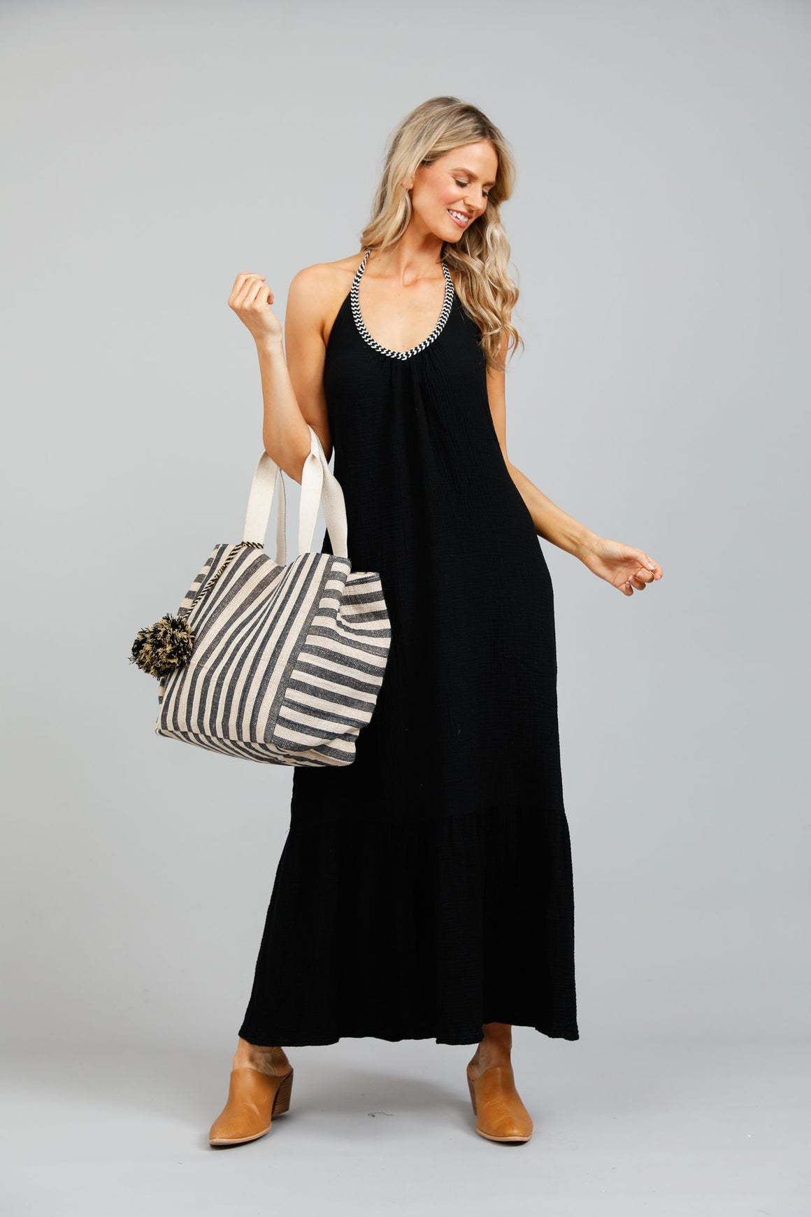 Athena Halterneck Maxi Dress - Black