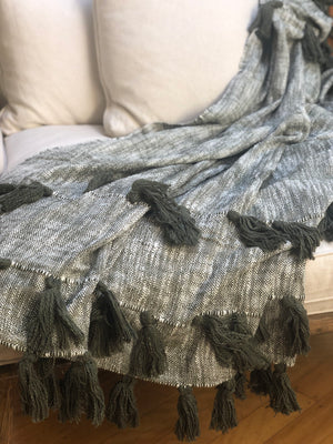 Chunky Cotton Throw with Tassles - Olive