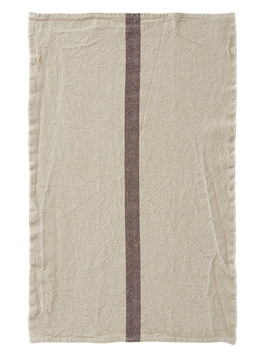 French Linen Tea Towel Natural With Dark Brown Stripe French Cargo