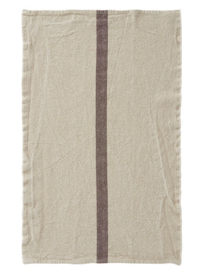 French Linen Tea Towel - Natural with Dark Brown Stripe