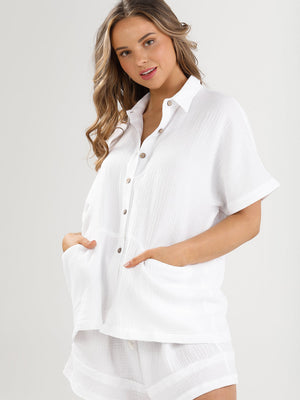 Fancy Free Cotton Shirt - White