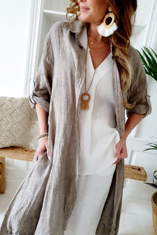 Fool for Love Linen Dress - Colour Natural