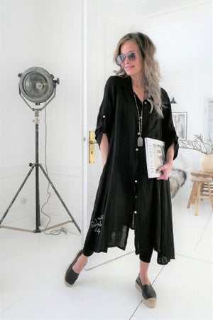 Fool for Love Linen Dress - Black