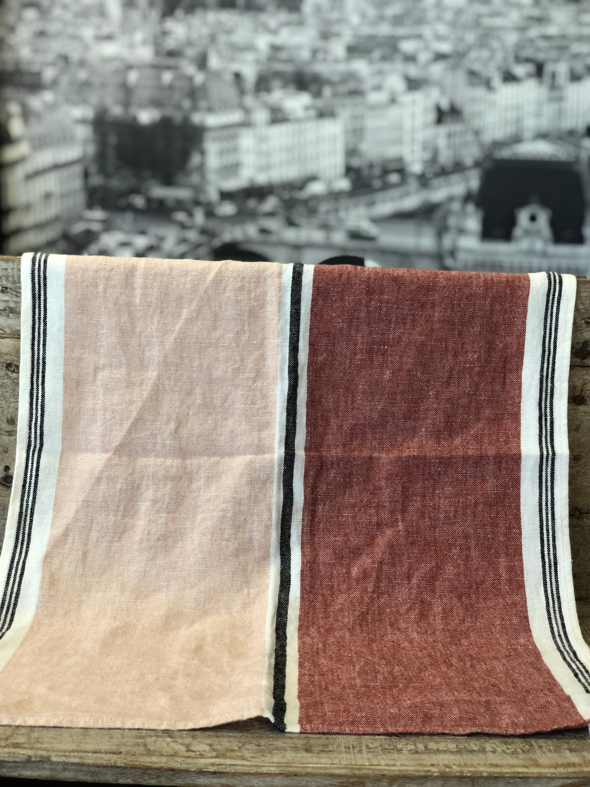 French linen Tea Towel - Argile (shades of Pink)