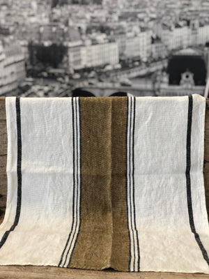 French Linen Tea Towel - Bronze stripe