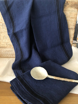 French linen Tea-Towel - French Navy with Black grainsack stripe