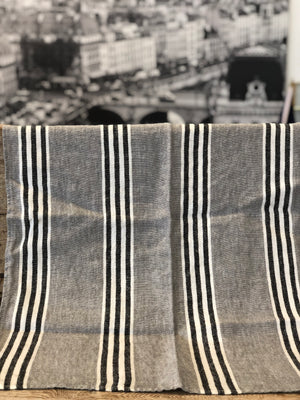 French Linen Tea Towel - Grey and Black Stripe
