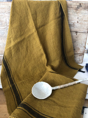 French linen Tea-Towel - Mustard with Black grainsack stripe