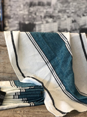 French Linen Tea Towels - Blue and White