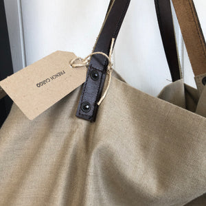 French Vintage Linen and Leather Tote