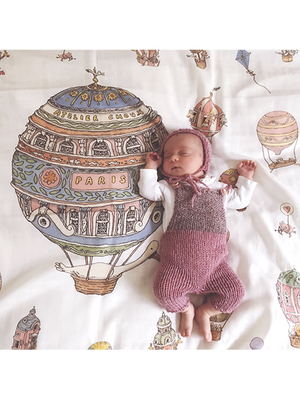 French Organic Cotton Baby Wraps - Hot Air Balloons by Atelier Choux Paris (Large)