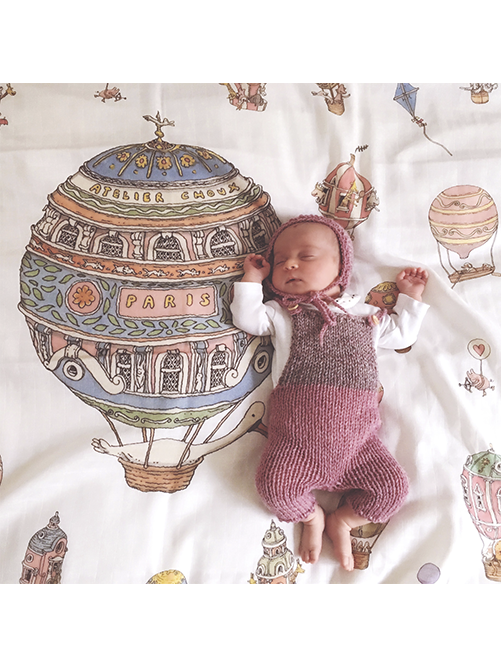 French Organic Cotton  Baby Wraps - Hot Air Balloons by Atelier Choux Paris
