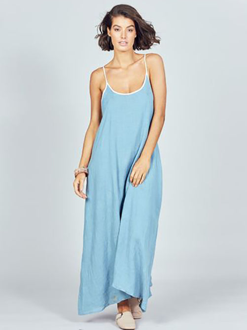 Genesis Linen Dress in River Blue