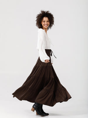 Greer Maxi Skirt - Dark Chocolate
