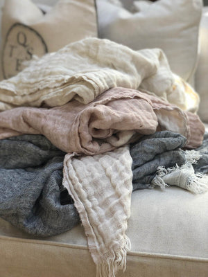 Linen Throw in Cream