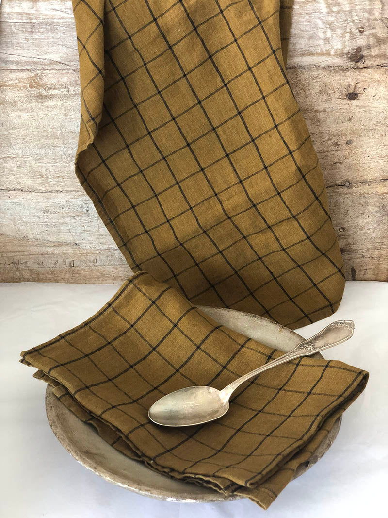 French Linen Tea Towel in Bronze Check