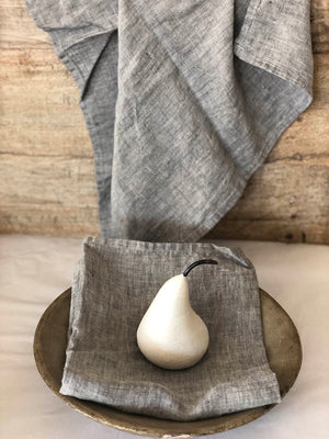 French Linen  Tea Towel in Granite