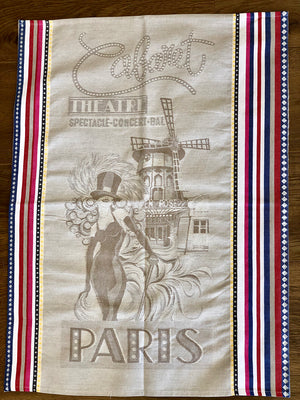 """Paris Cabaret"" French Cotton Tea Towel"