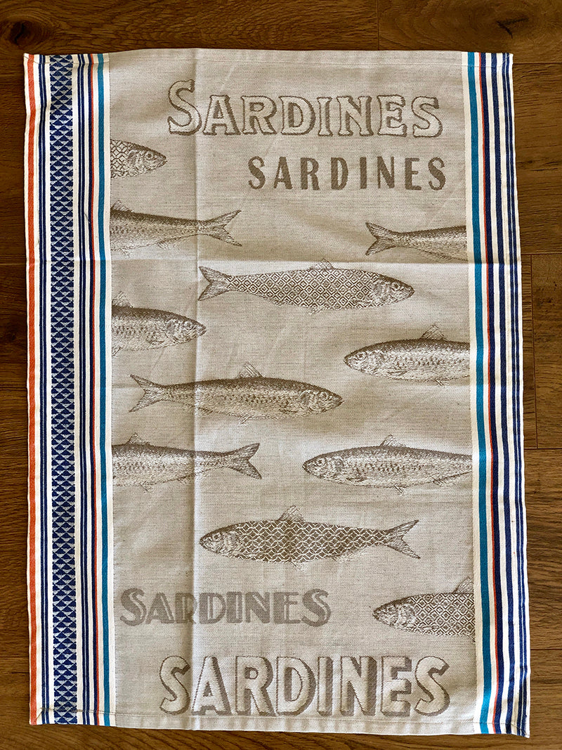 """Sardine"" French Cotton Tea Towel"