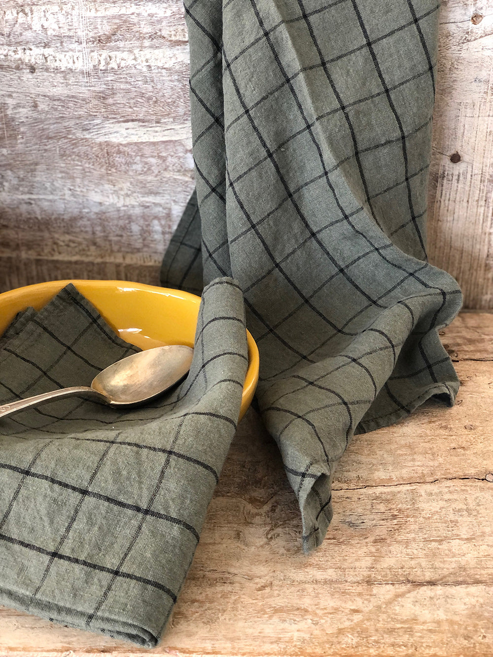 Olive french linen tea towel
