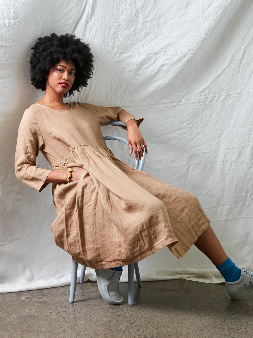 Journee Loose Fit Linen Dress (Natural)