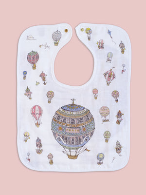 French Organic Cotton Bib - Hot Air Balloon by Atelier Choux (Large)