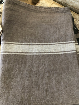 Linen Tea Towel with one Stripe- Cement