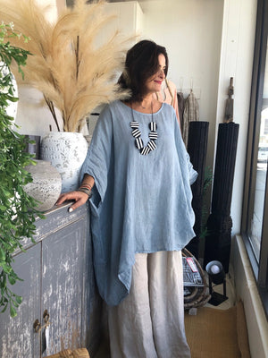 Linen Poncho Top - Light Blue