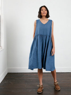 Sophie Linen Sleeveless Dress - Denim Blue