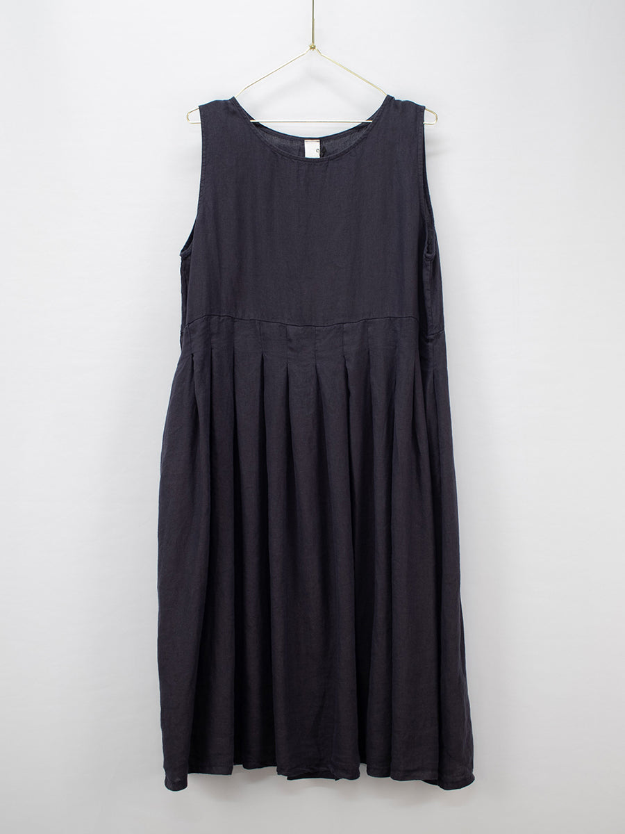European Box Pleated Linen Dress (French Navy)