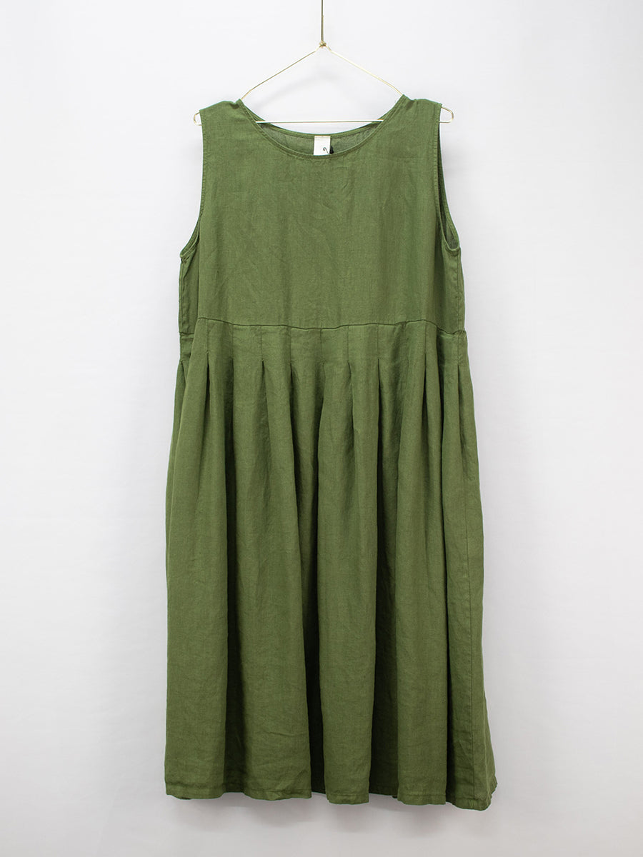 European Box Pleated Linen Dress (Green)