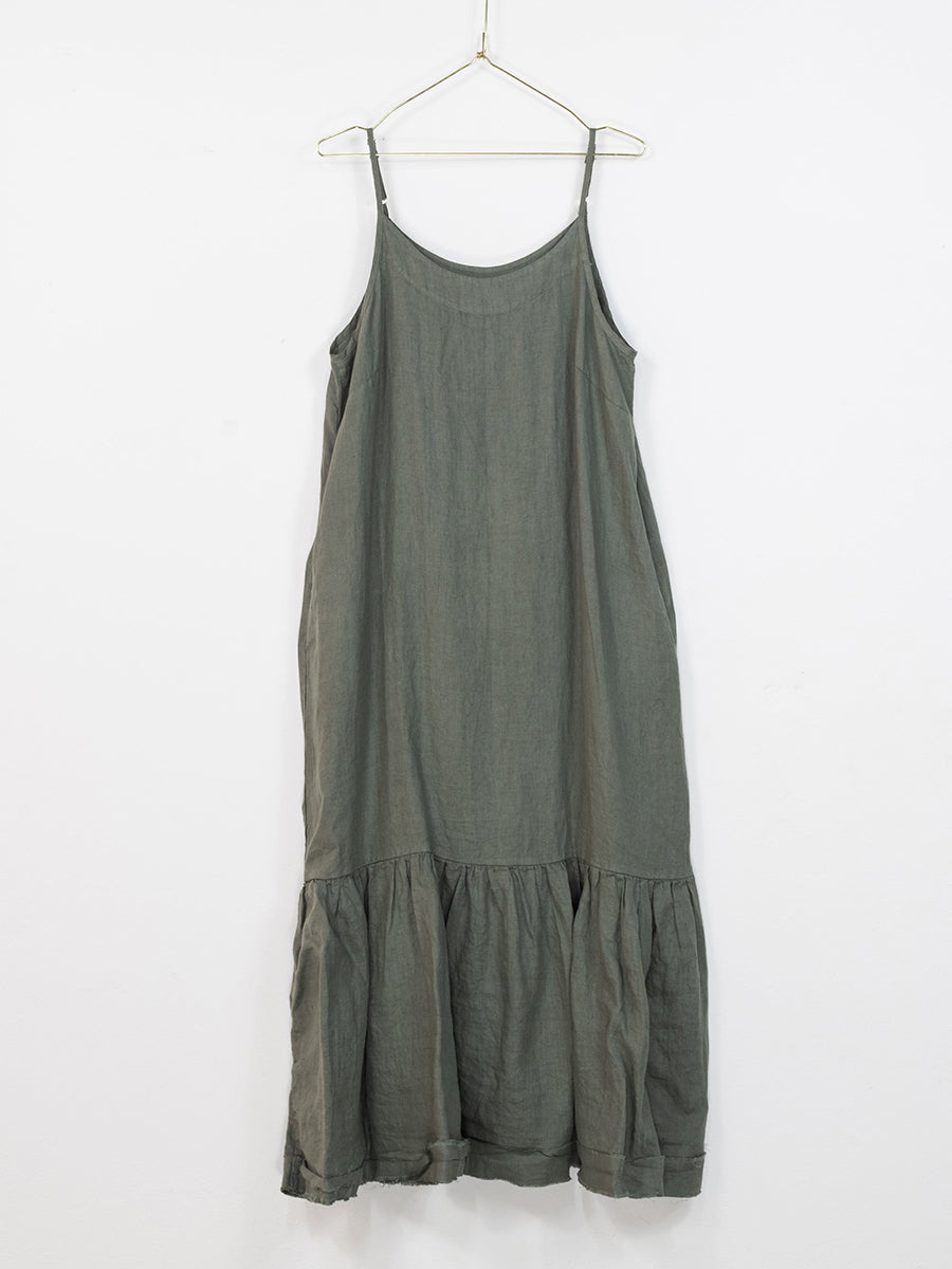 Longline Linen Maxi Dress with Frayed Edge (Khaki)