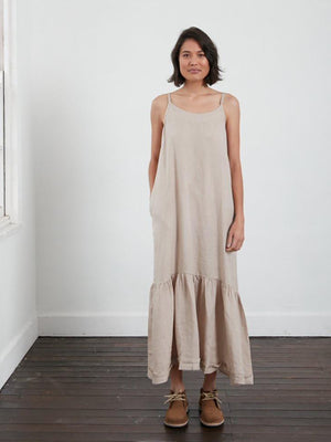 Longline Linen Maxi Dress with Frayed Edge (Natural)
